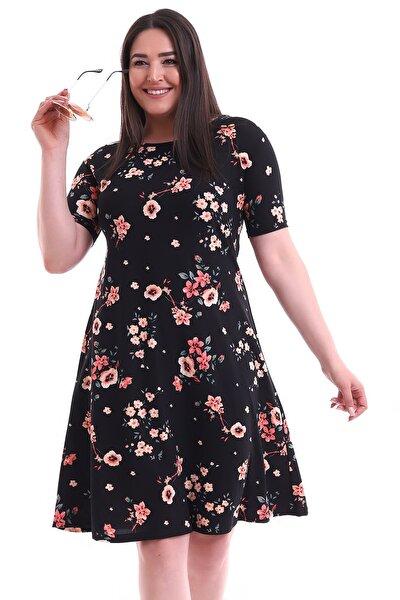 Büyük Beden Çiçek Desenli Kısa Kol Elbise