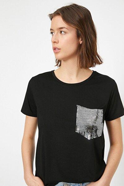 Kadın Siyah Yazili Baskili T-shirt 0YAK13146EK