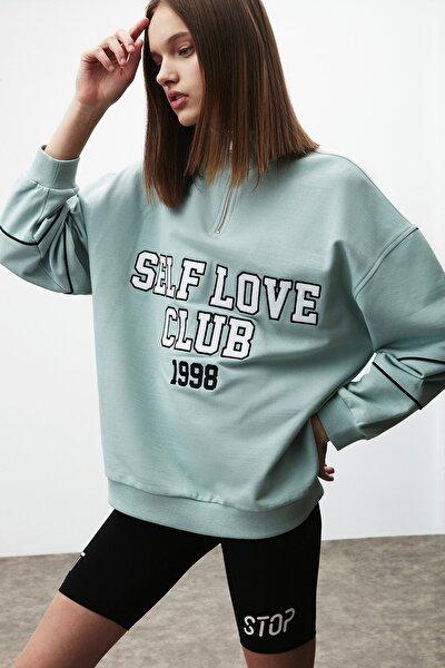 Gısele Kadın Mint Oversize Dik Yaka Önü Baskılı Fermuarlı Sweatshirt