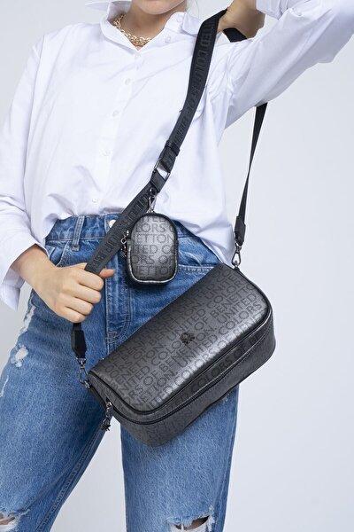 Kadın Platin Siyah Çapraz Çanta  Bnt371