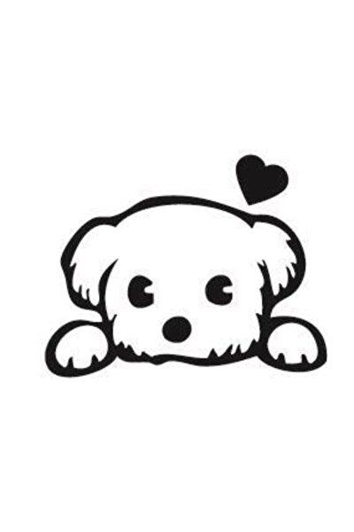 Sevimli Köpek Sticker   Tatlı Köpek   Kaput - Bagaj - Cam - Leptop   Siyah