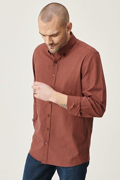 Erkek Bordo Tailored Slim Fit Dar Kesim Düğmeli Yaka %100 Koton Gömlek