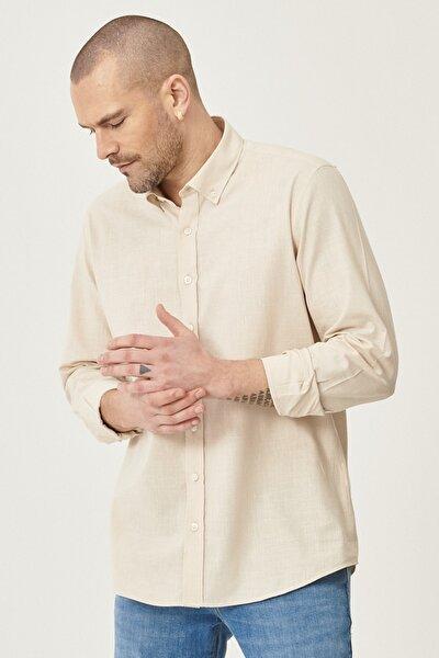 2 Al Sepette Ek %20 İndirim Bej Tailored Slim Fit Dar Kesim Düğmeli Yaka %100 Koton Gömlek