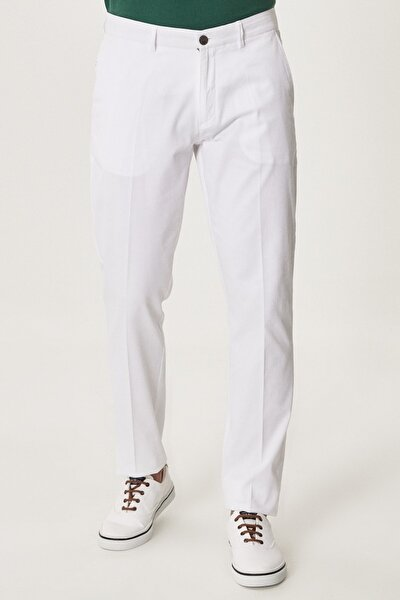 Erkek Beyaz Slim Fit Armürlü Pantolon