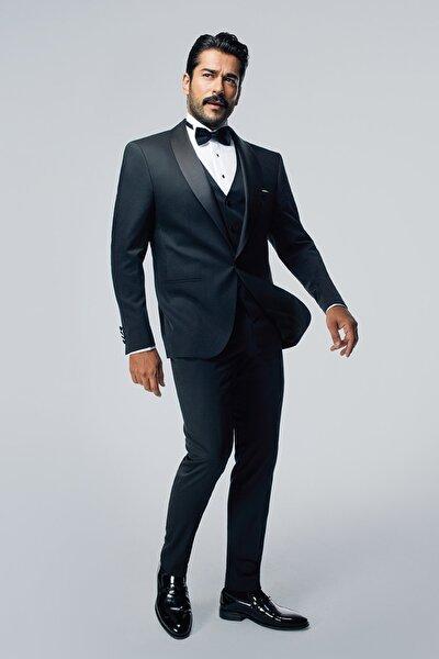 Erkek Siyah Slim Fit Desenli Smokin Damatlık