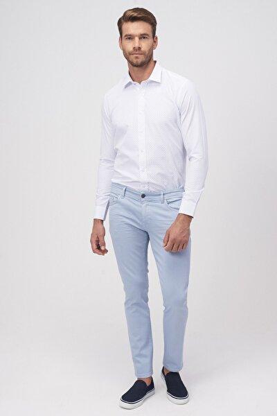 Erkek Mavi 360 Derece Her Yöne Esneyen Rahat Slim Fit Pantolon