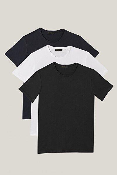 Erkek Siyah-Lacivert-Beyaz Slim Fit Bisiklet Yaka 3'Lü %100 Koton Tişört Paketi