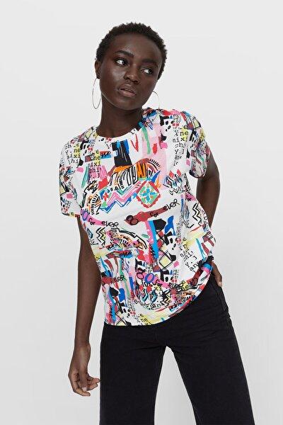 Kadın Beyaz Desenli T-shirt