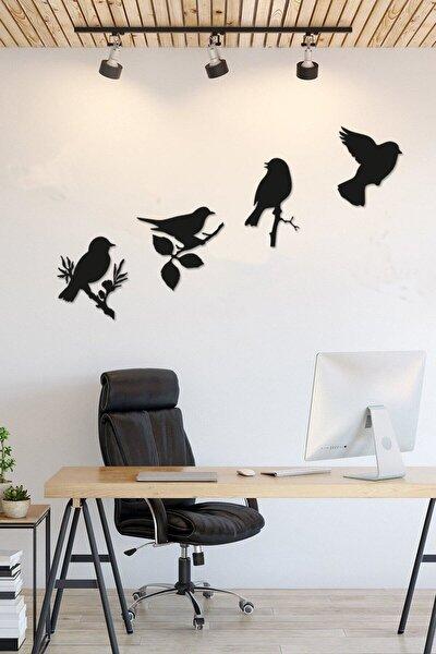 Yeni Dekoratif Modern Dörtlü Kuş Duvar Süsü
