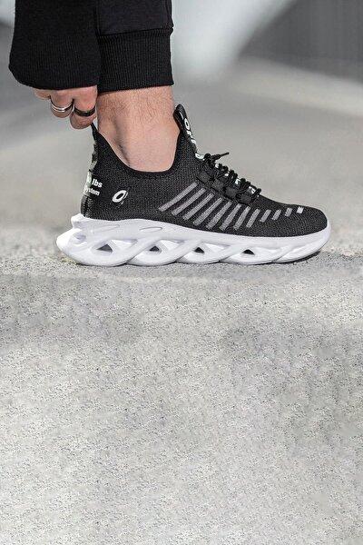 Siyah Beyaz Triko Ayakkabı