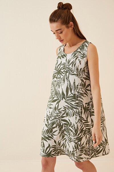 Kadın Çağla Yeşili Desenli Keten Viskon Mini Elbise BH00343