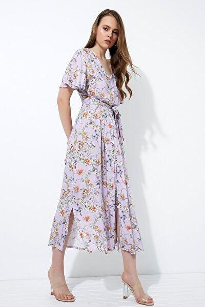Kadın Mor Çiçekli Düğmeli Uzun Elbise