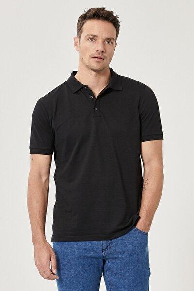 Erkek Simsiyah Düğmeli Polo Yaka Cepsiz Slim Fit Dar Kesim Düz Tişört