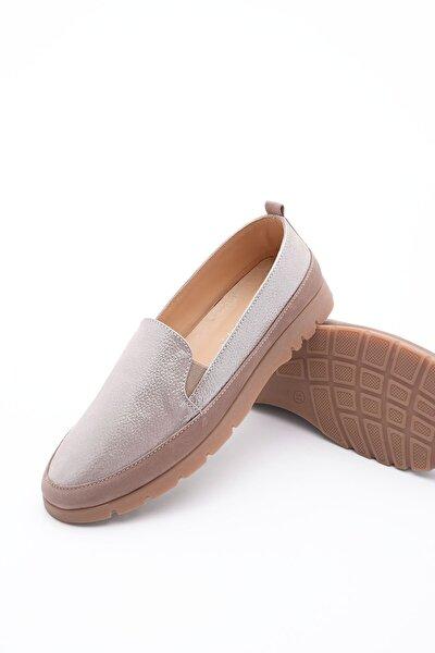 Kadın Hakiki Deri Comfort Ayakkabı ZokleVizon