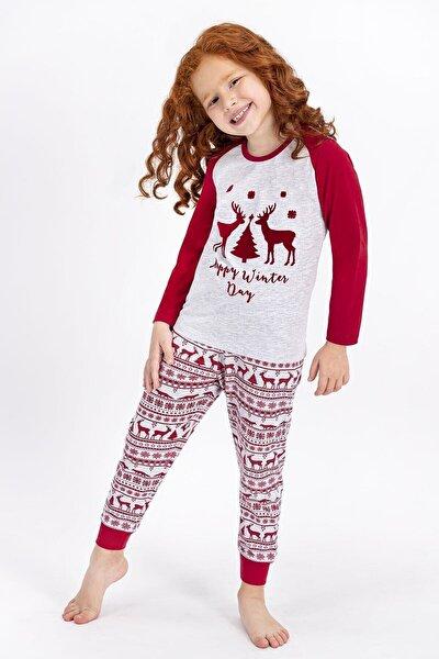 Kız Çocuk Gri Pembe Happy Winter Day Karmelanj  Pijama Takımı