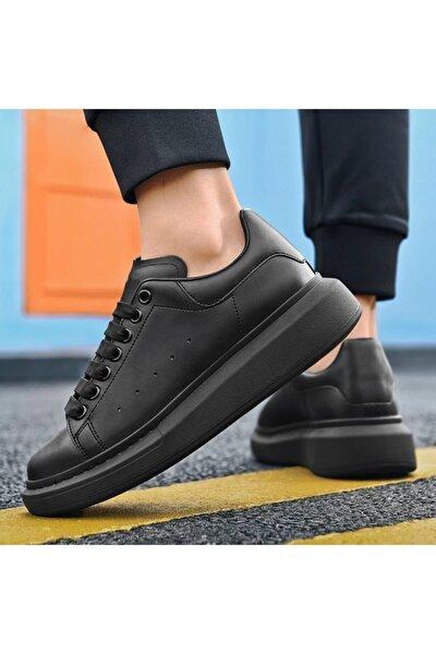 Unisex Siyah Cilt Spor Ayakkabı