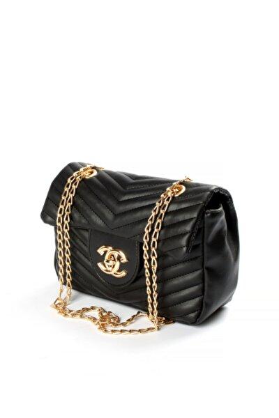 Kadın Siyah Yeni Sezon Moda Tasarım Chevron Kesim Kilit Detaylı Çanta