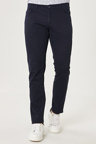 Erkek Lacivert Kanvas Slim Fit Dar Kesim %100 Koton 5 Cep Pantolon