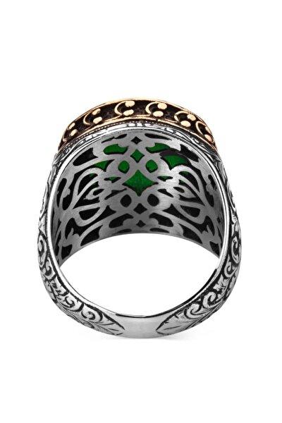 925 Ayar Gümüş Zirkon Yeşil Taşlı İşlemeli Erkek Yüzük