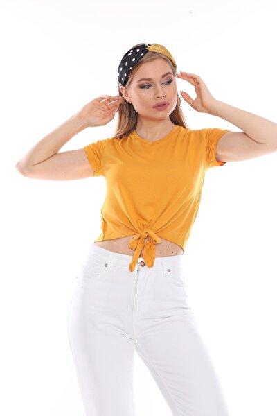 Kadın Hardal Basic Tshirt