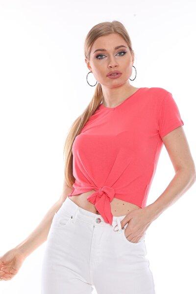 Kadın Pembe Nar Basic Tshirt