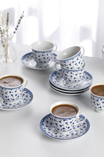 Briana Porselen 12 Parça Kahve Fincan Takımı 90 ml Mavi