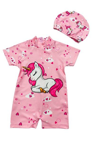 Kız Çocuk Uykucu Unicorn Hassas Ten Tam Vücut Mayo Ve Bone - Surfers