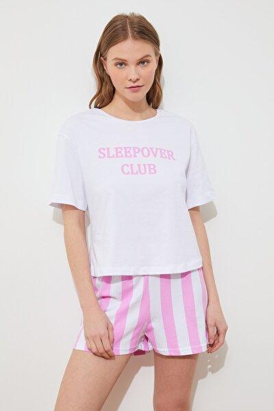 Sloganlı Örme Pijama Takımı THMSS21PT0975