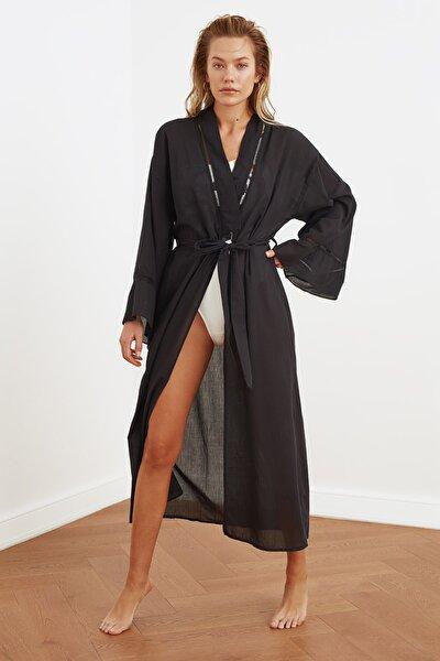 Siyah Şerit Detaylı Kimono&Kaftan TBESS21KM0094
