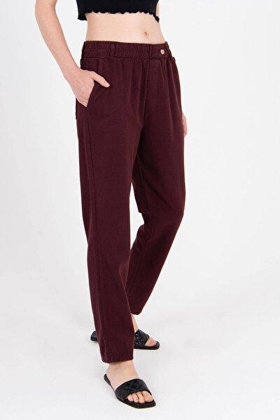 Kadın Bordo Düğme Detaylı Pantolon Pn4191 - Pni ADX-0000021486