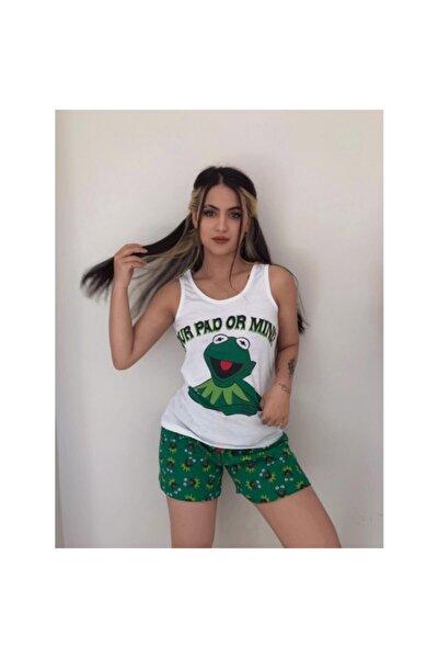 Yeşil Kermit Baskılı Kadın Atlet Şort Takımı
