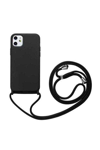 Iphone 11 Kılıf Silikon Ipli Boyun Askılı Pürüzsüz Ropi