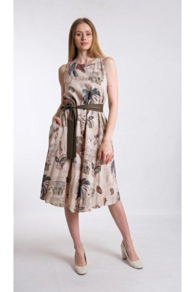 Haki A Form Desenli Beli Kuşaklı Keten Kumaş Elbise Je545317