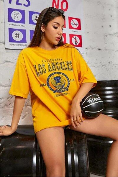 Kadın Sarı Oversize Los Angeles Baskılı T-shirt