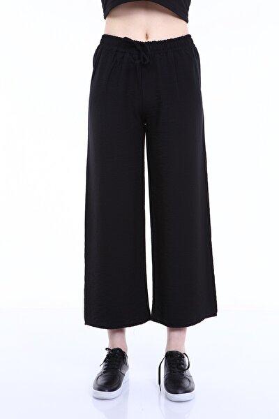Rodi Ds21yb015589 Siyah Kadın Airobinli Kumaş Bol Paça Pantolon
