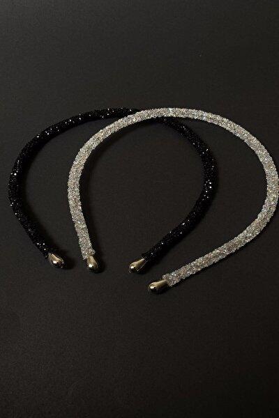Janjan Ve Siyah Renk Kristal Kadın Taç Takımı 2'li Işıltılı Günlük Kullanıma Uygun Taç Seti