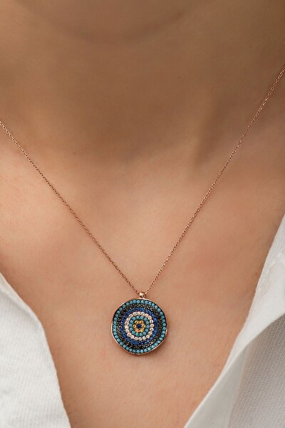 Dalgalı Nazar Kolye, Özel Ahşap Kutulu, 925 Gümüş, Nazar Kolye, Rose Kaplama