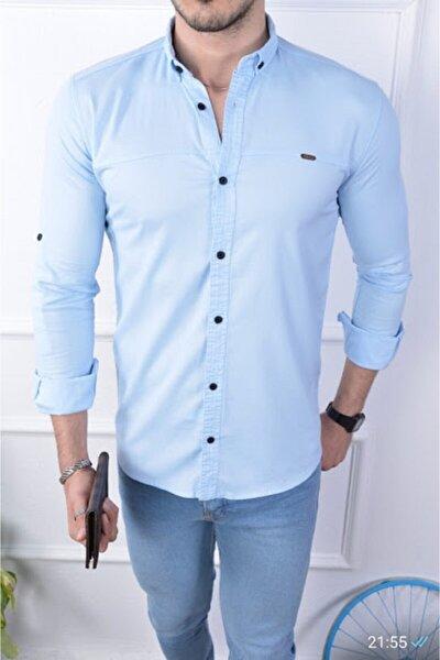 Erkek Cepsiz Likralı Gömlek