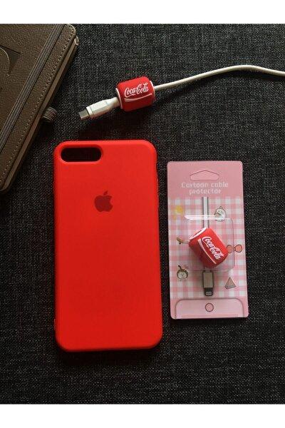 Or-ka Store Iphone 7 Plus Ve 8 Plus'a Uyumlu, Logolu Lansman Kılıf Kablo Koruyucu