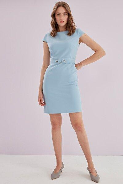 Kadın Mavi O Yaka Bel Korsaj Aksesuarlı Elbise