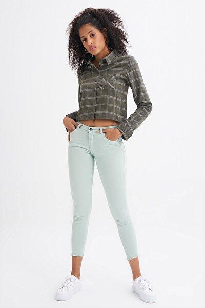Kadın Yüksek Bel Beş Cepli Skinny Pantolon Jean Su Yeşili Jean Mint