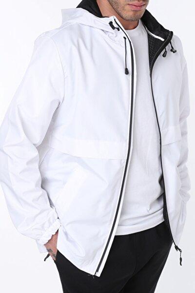 Erkek Beyaz Rüzgarlık/Yağmurluk Outdoor Yırtmaç Detaylı Mevsimlik Spor Ceket