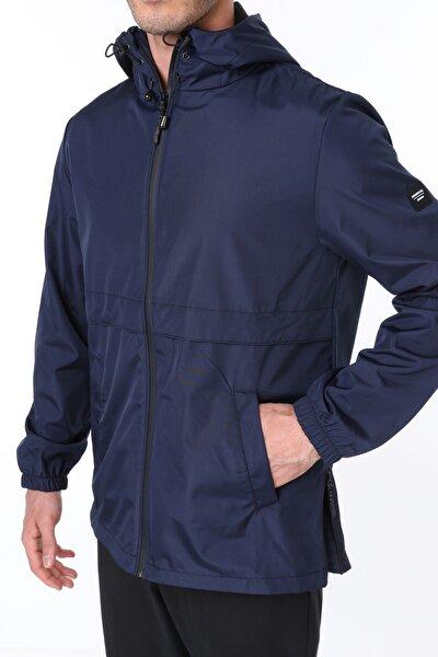 Erkek Lacivert Rüzgarlık/Yağmurluk Outdoor Yırtmaç Detaylı Mevsimlik Spor Ceket