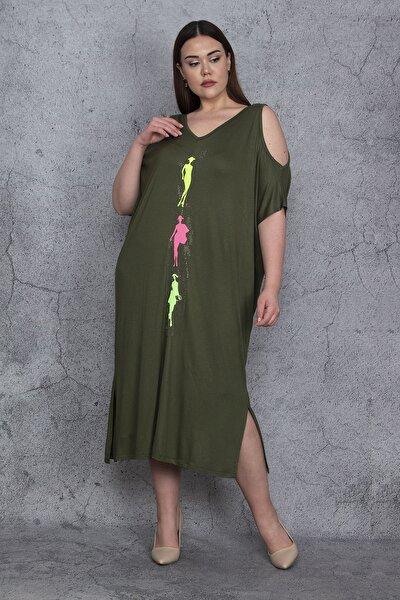 Kadın Haki Omuz Dekolteli Ön Detaylı Elbise 65N24017