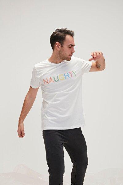 Erkek Beyaz Tişört Naughty Tee Spor T-Shirt