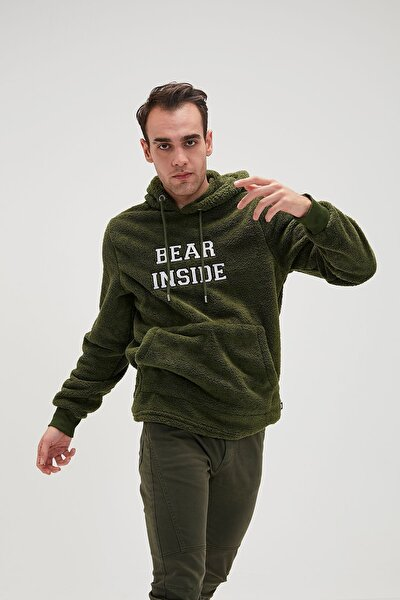 Erkek Haki Bear Plush Forest Sweatshirt