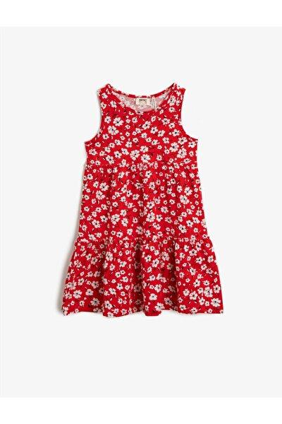 Kız Çocuk Kırmızı Çiçekli Pamuklu Elbise