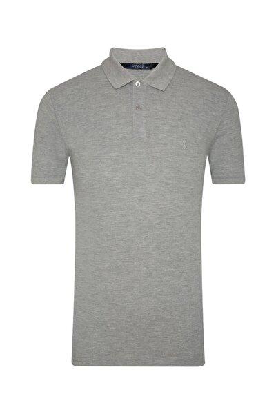 Slim Fit Polo Yaka Gri Erkek Tişört