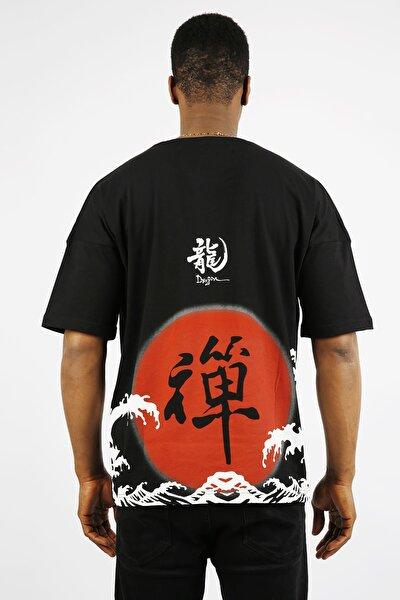 Siyah Chinese Baskılı Oversize T-shirt 1yxe1-44910-02