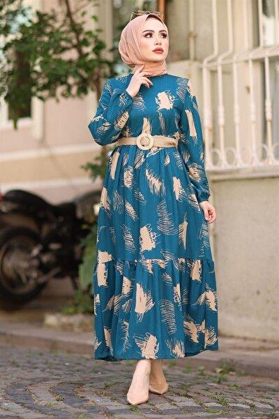 Kadın Fırça Desen Kemerli Elbise - Indigo